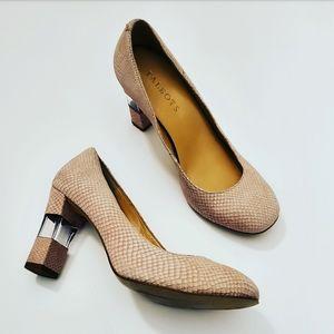 Talbots Womens Light Petal Pink & Clear Heels •6.5